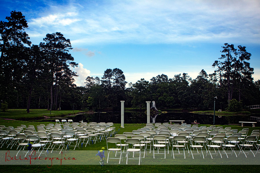 outdoor wedding by pond