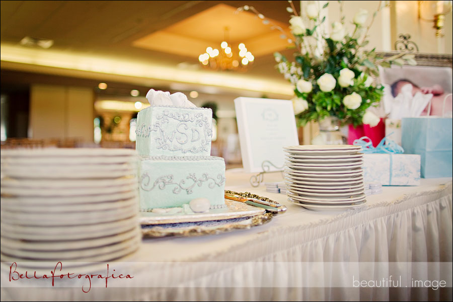 cake and gift table baby reception