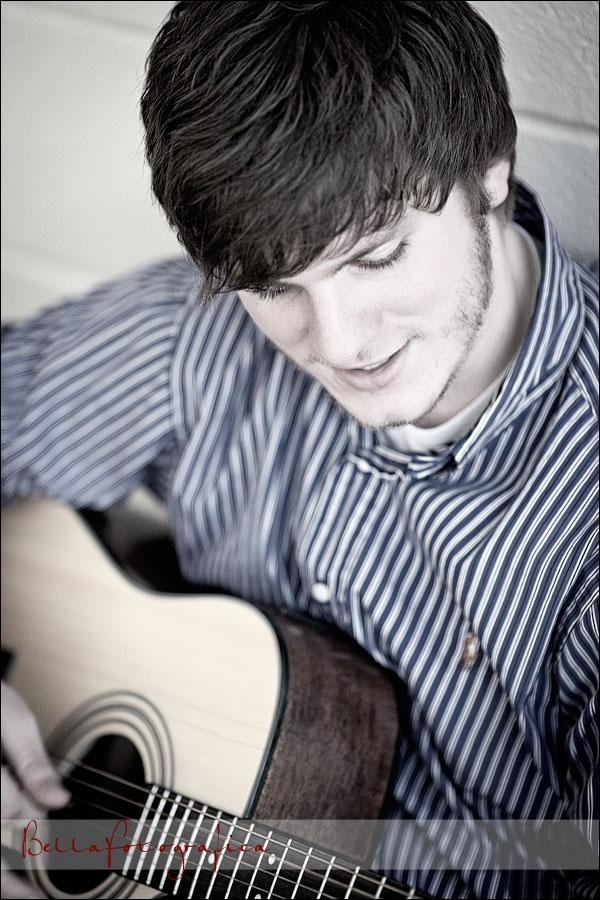 high school senior playing guitar