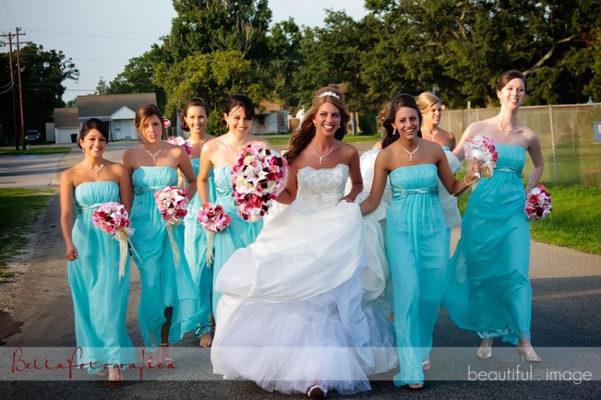bride and bridesmaids rushing to wedding