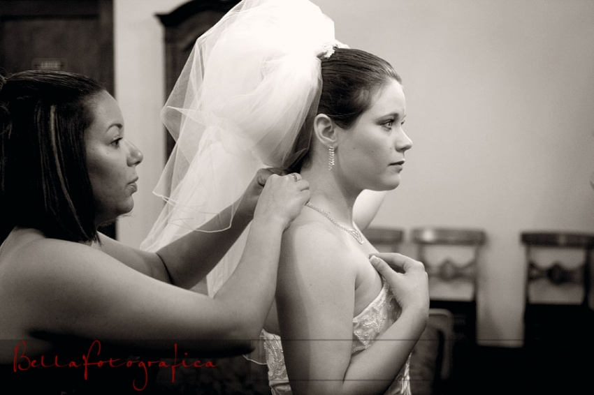 Bride putting on her bling