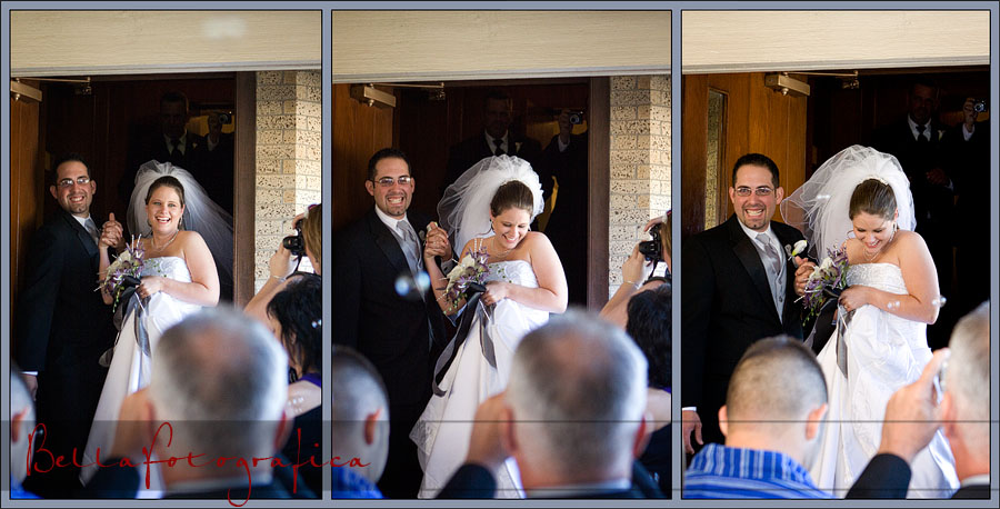 Bride and Groom leaving through bubbles