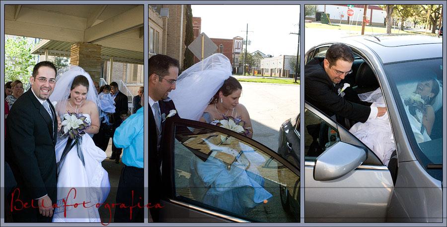 Bride and Groom making getaway