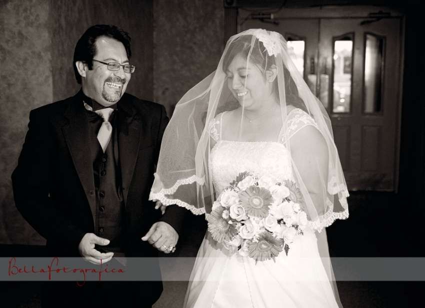 Black and White Wedding Photo of bride and her dad