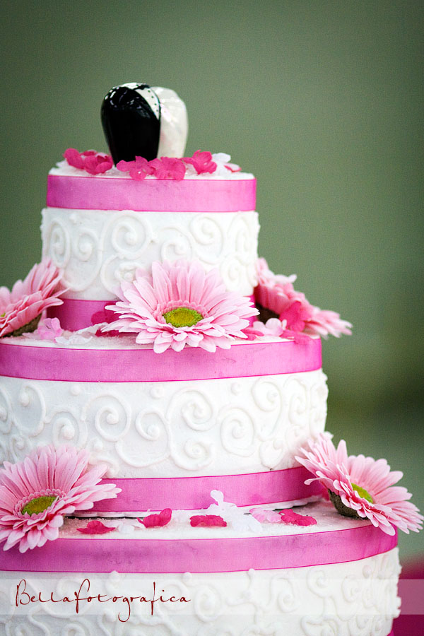 pink and white wedding cake. Photo of the bride and her dad dancing at the