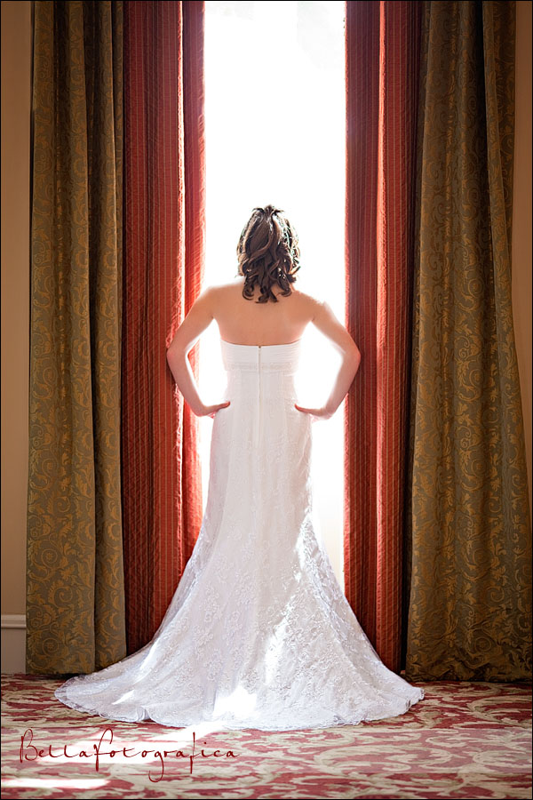 bride with light coming through window