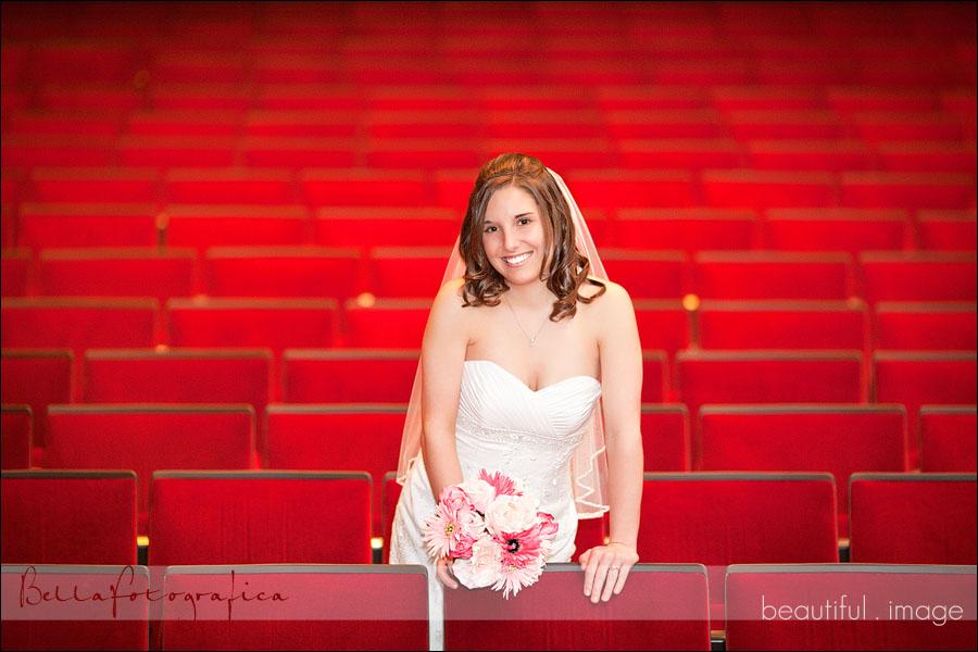 bridal portrait inside theater