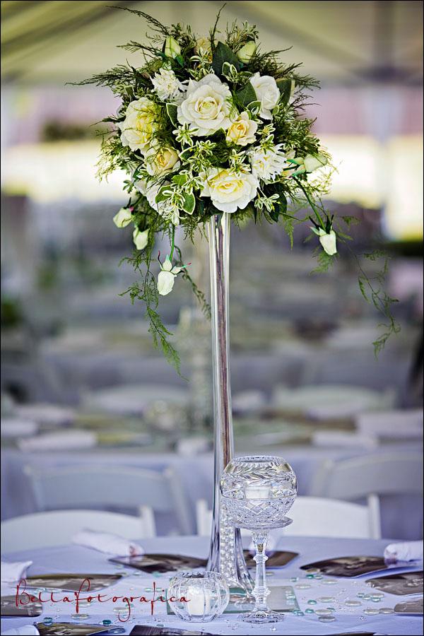 floral decor in outdoor nederland backyard wedding reception tent