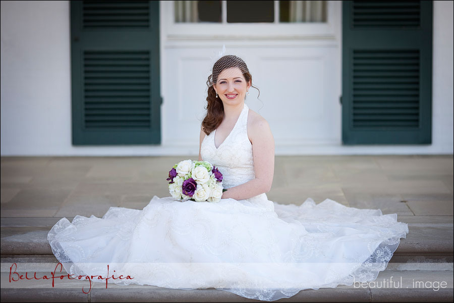 bride outdoors on steps