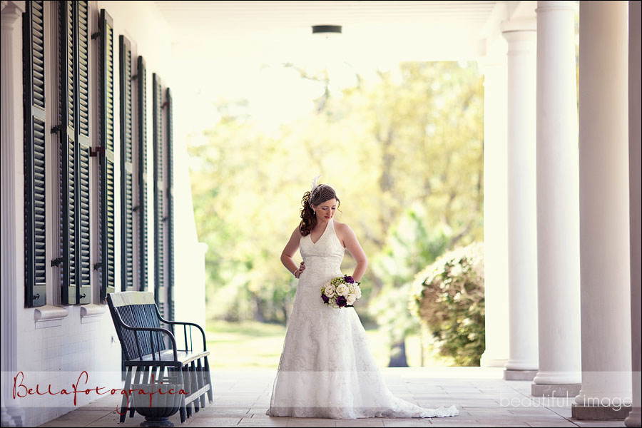 bride outdoors with columns
