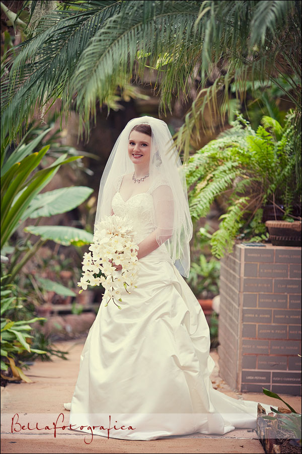 bride in botanical gardens