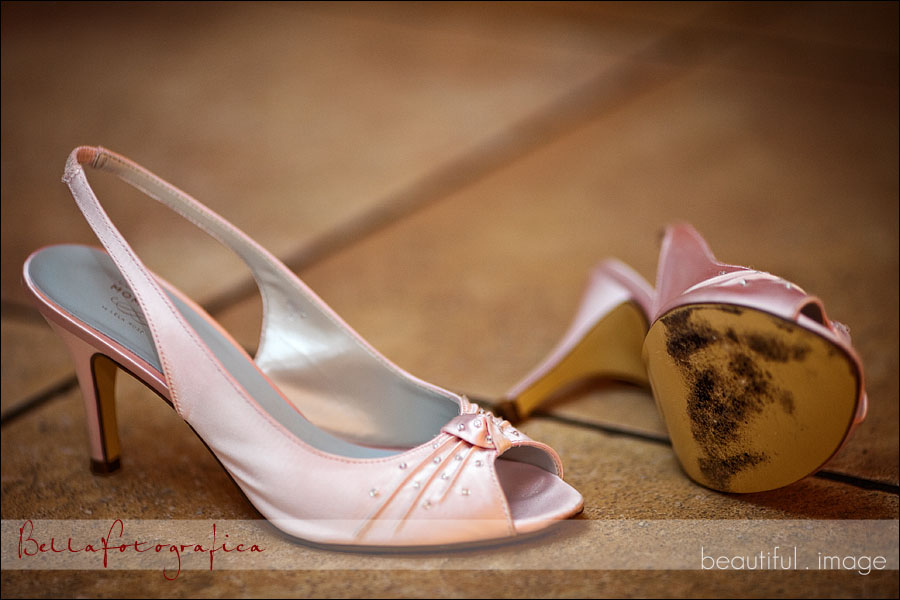 bridal shoes at the wedding reception