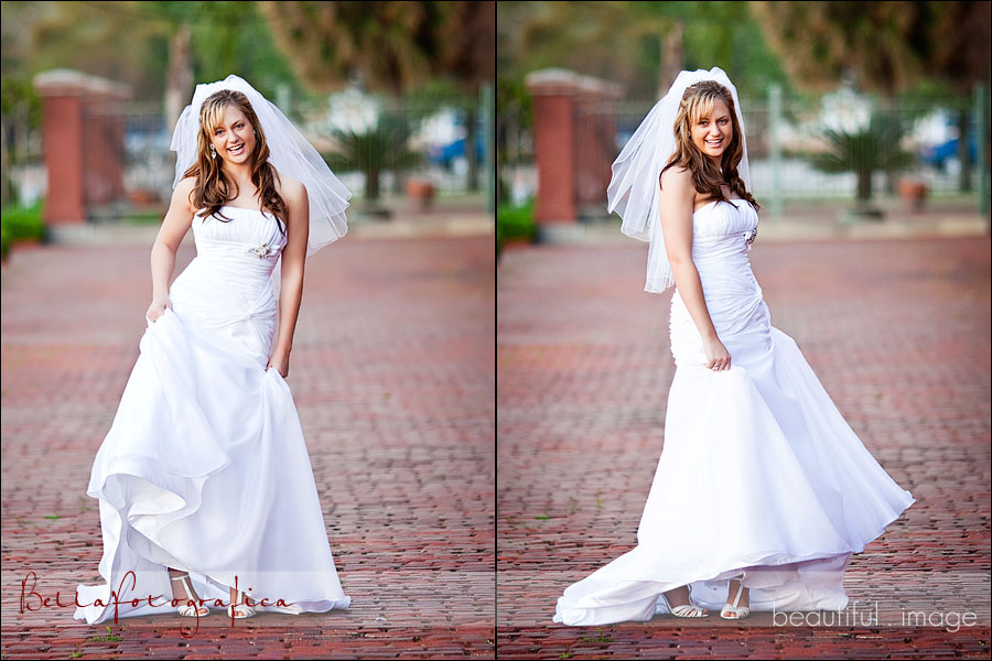 bride swinging dress side to side
