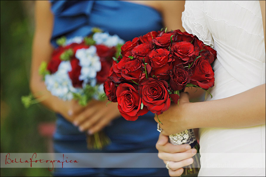 beautiful vintage styled bridal with red rose bouquets