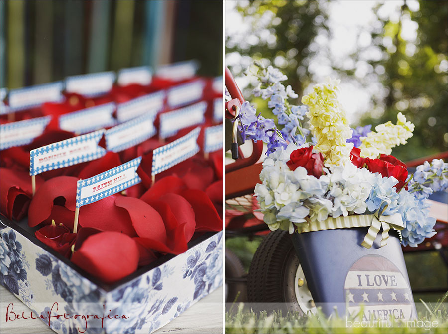 rose petals and floral decor for outdoor wedding