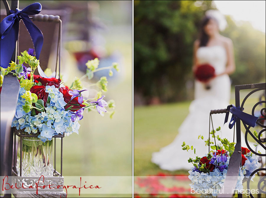 red white and blue floral lanterns