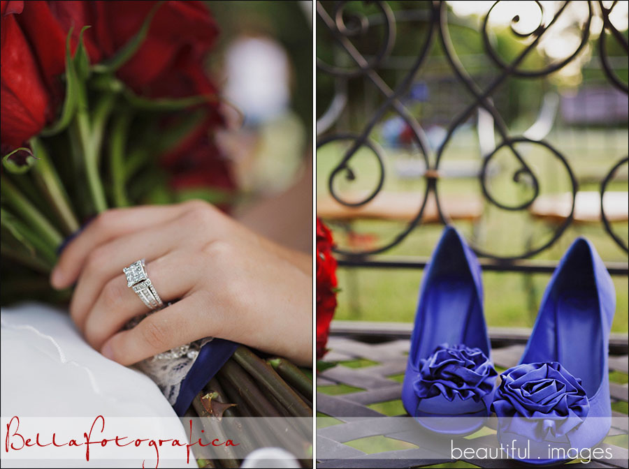 red white and blue color theme for outdoor wedding