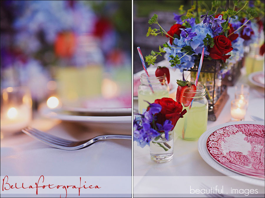 red white and blue color theme for outdoor wedding reception