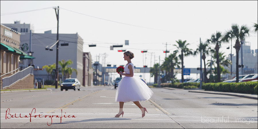 bride crossing the street
