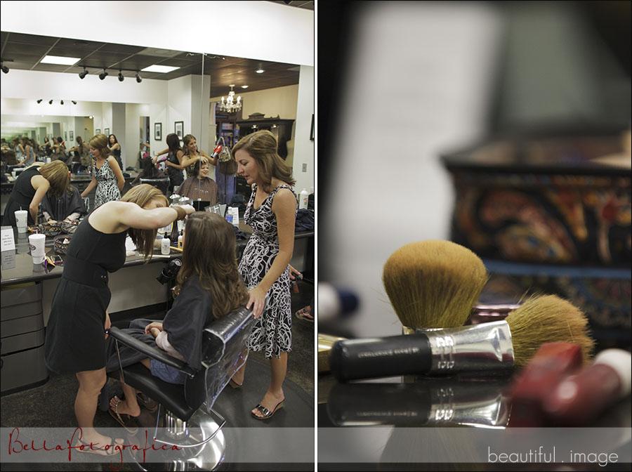 bride getting ready at salon mecca