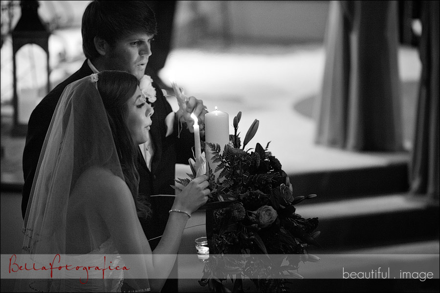 wedding ceremony at cathedral in the pines