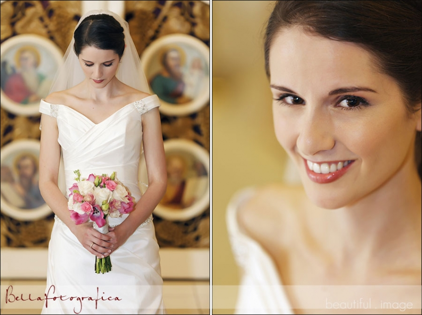 bridal photos at st michaels orthodox church