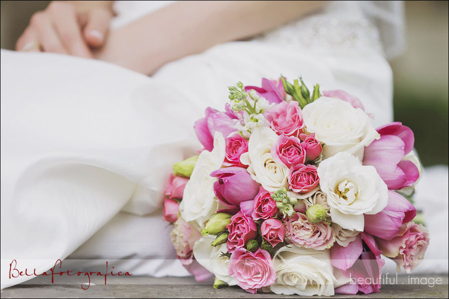 fresh flower pink and white bridal bouquet