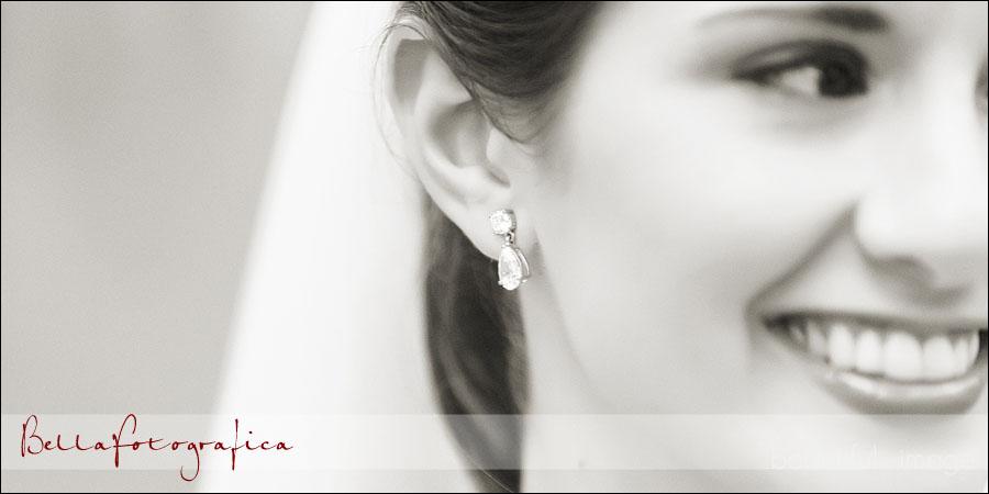 closeup of brides earring