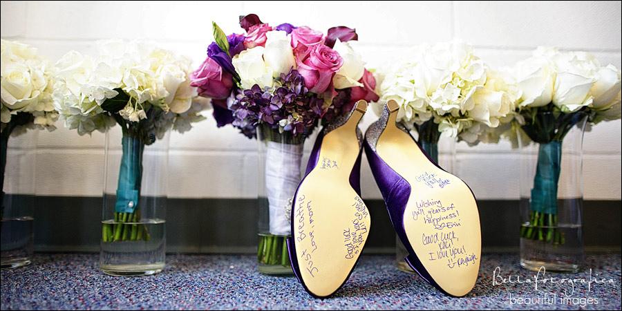 brides shoes and bouquets