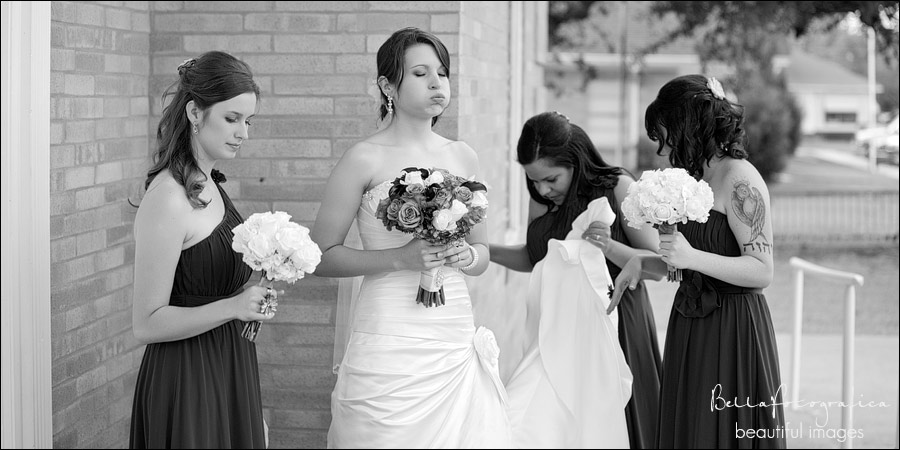 bride and bridesmaids walking to the ceremony