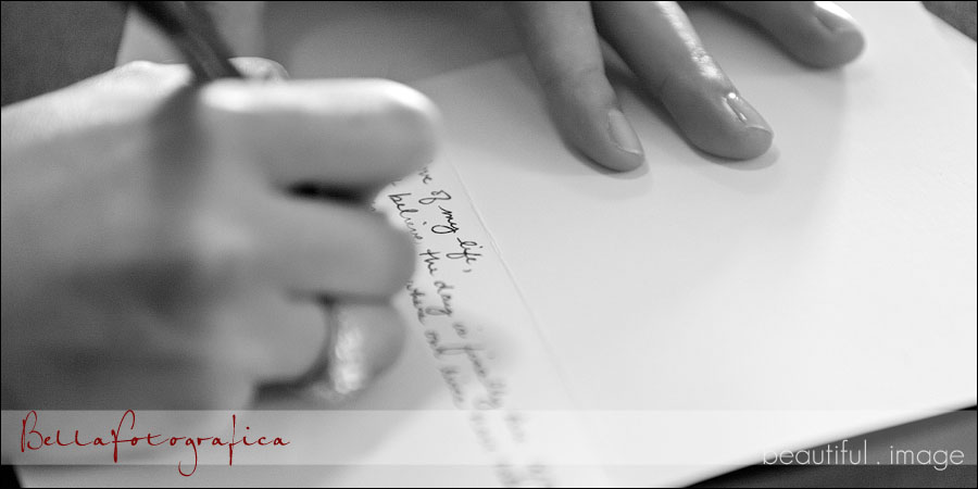bride writing love letter to her man