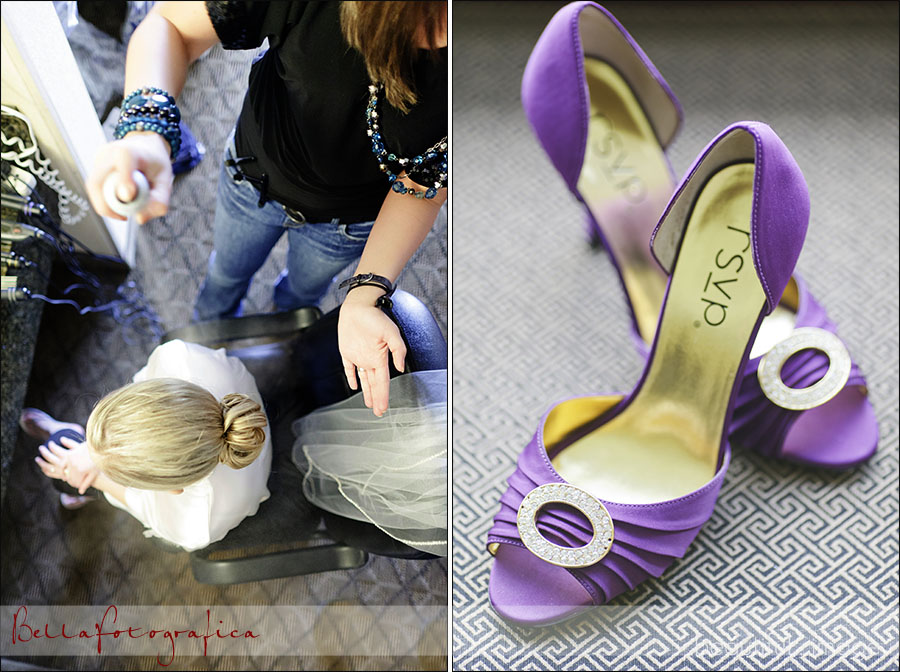 bride getting her hair did and her wedding shoes