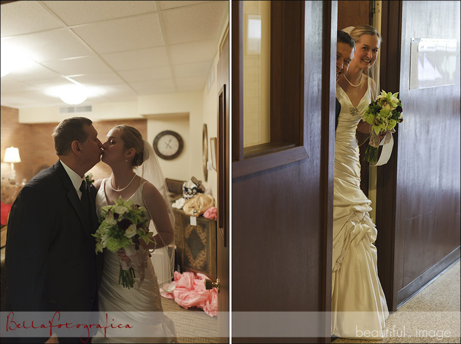 bride and her dad one last kiss