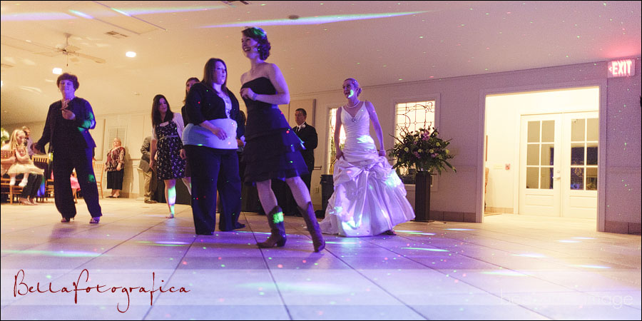 bridesmaids line dancing at reception