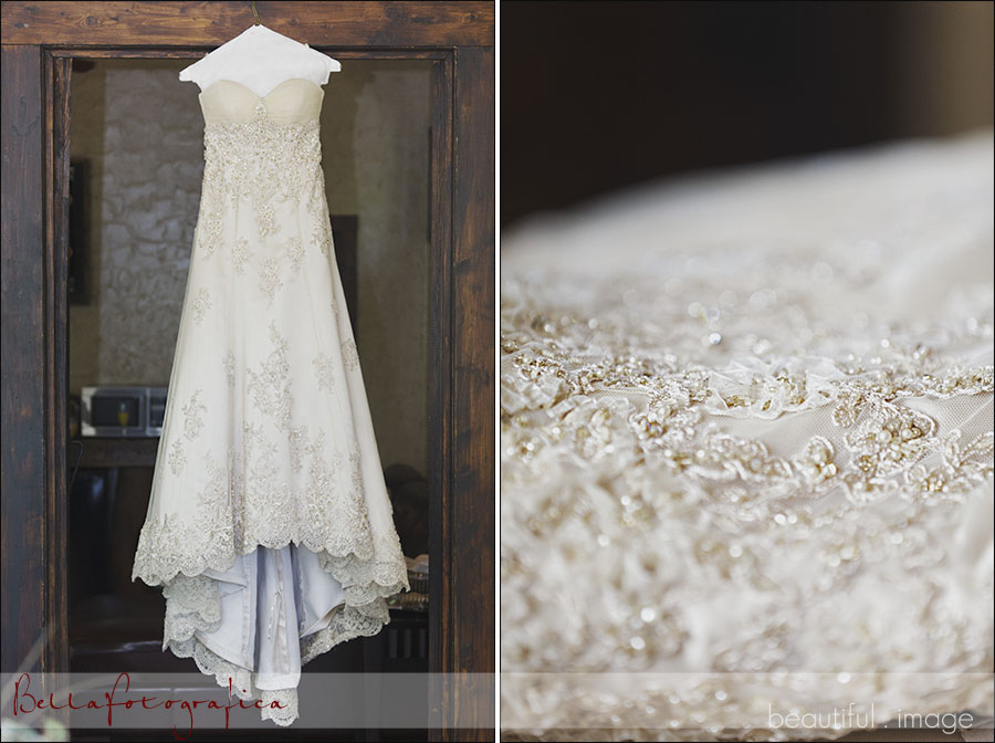 ivory wedding dress and bead detail