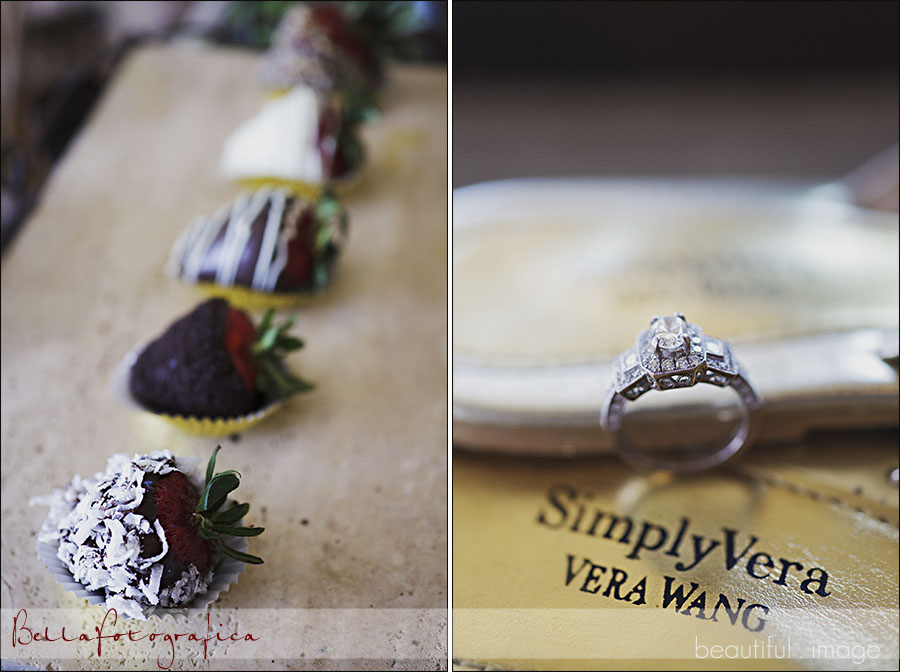 chocolate covered strawberries and wedding rings