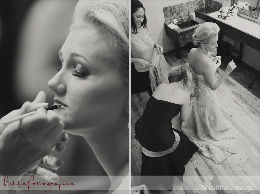 bride and bridesmaids getting their makeup on and dressed