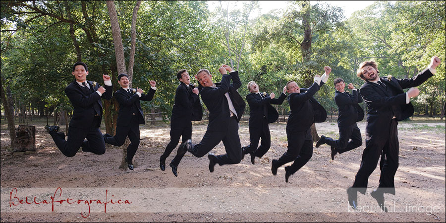 groom and his men jumping