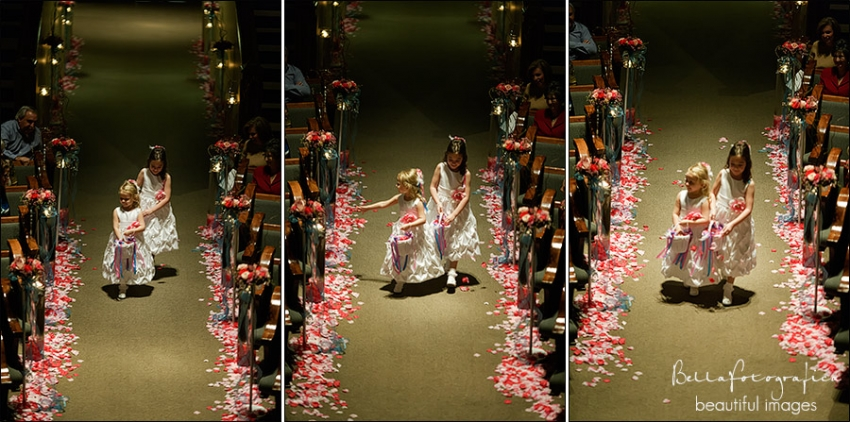 flowergirls dropping rose petals along the aisle