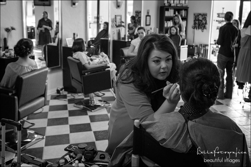 bride getting ready at sky salon