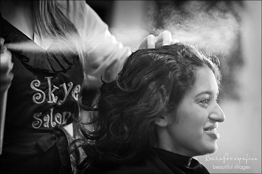 bride getting ready at sky salon