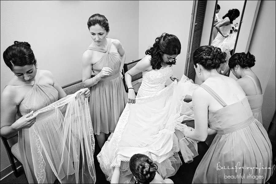bride getting ready at st jude catholic church