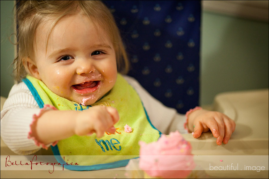 Elise and her birthday cupcake
