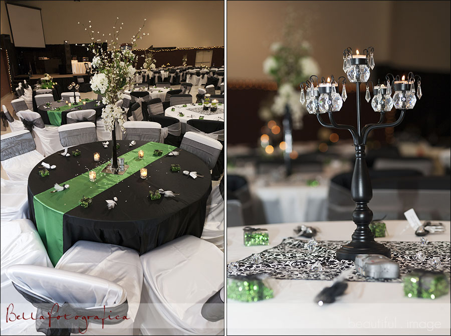 Black And Green Wedding Reception Details